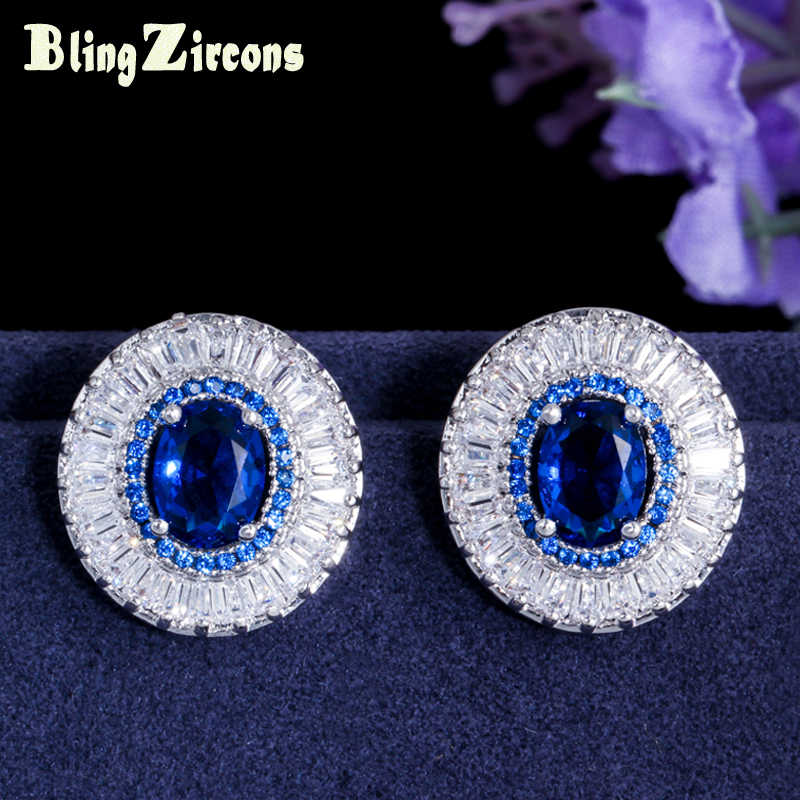 BeaQueen Brilliant CZ Crystal Ear Jewelry Inlaid Royal Blue Cubic Zirconia Stone Big Round Post Stud Earrings for Women E091