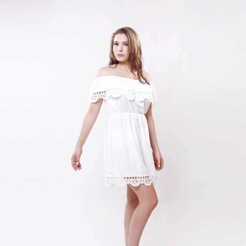 Женское летнее новое платье с открытыми плечами 2018 Европа-Америка чистого цвета Slash шеи модное сексуальное платье без рукавов на бретелях CH111