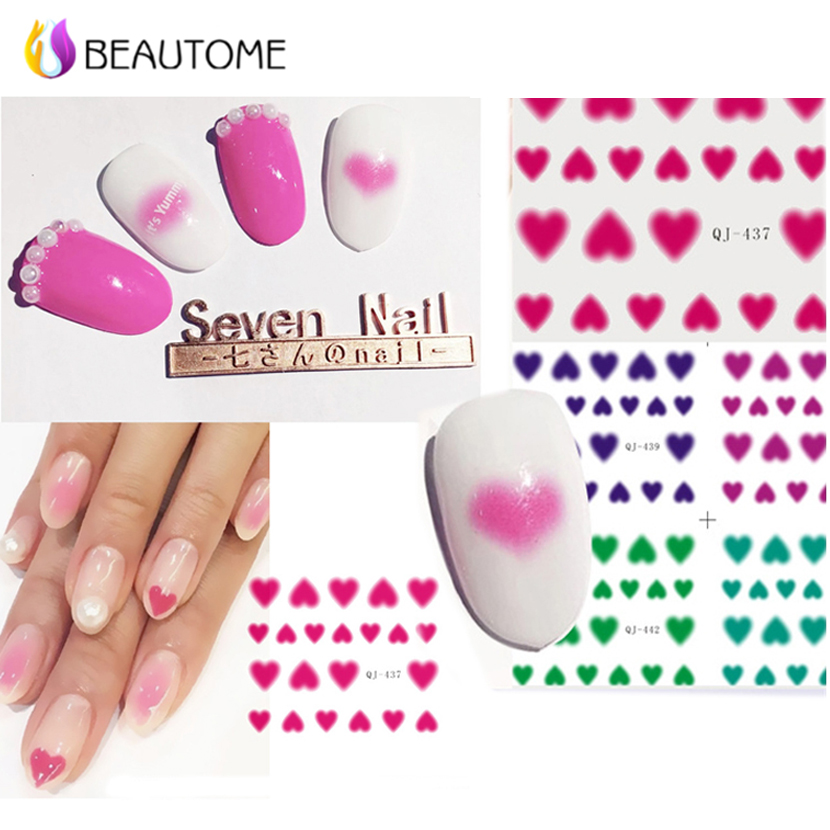 1 Pcs Fingernail Nail Art Polish Sticker Decal Pink Love Rouge Pink