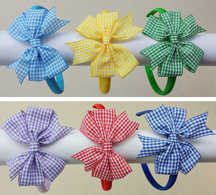 120pcs girl gingham hair bows solid Hair Bands Covered ribbon fully lined wrapped Plastic school plaid