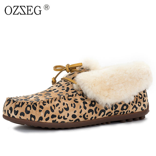 f08bdb38db2 Valentine Leopard Winter warm Female Genuine Leather Suede Lined Real Fur  Australia Snow Boot Furry Moccasins Flat Shoe Women