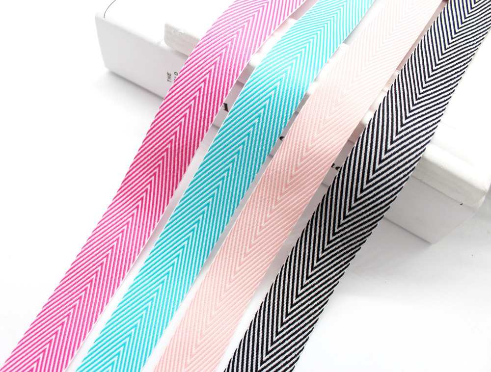 1 inch 25mm Colorful Geometric Stripe Herringbone Woven pattern Ribbon Wrapped Gift Packages Folk-Custom Tape