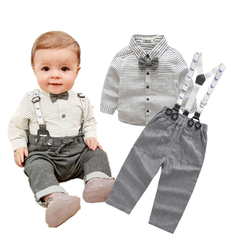 b8d3cd7bc Newborn baby clothes children clothing gentleman baby boy grey ...