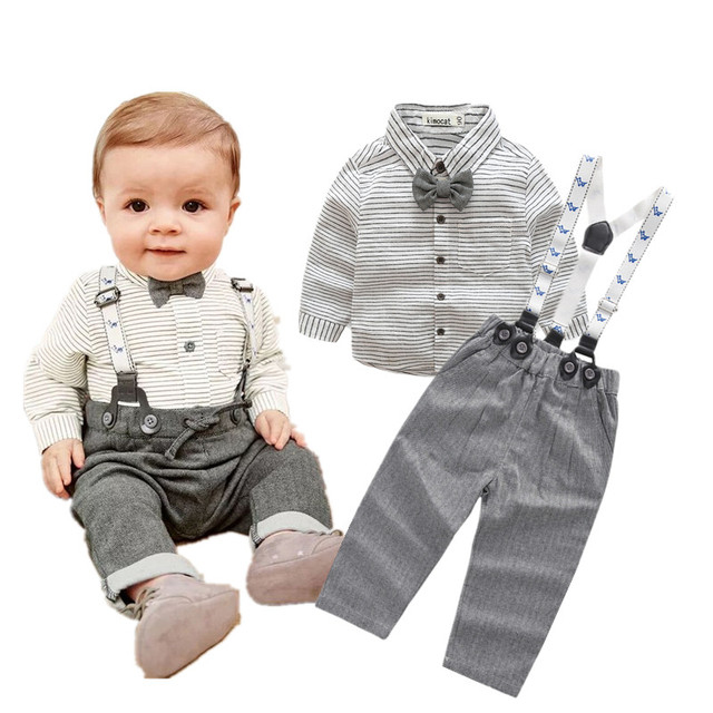 Baby Boy's Striped Shirt and Overalls Set