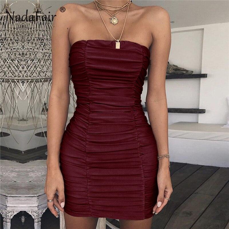 Nadafair Sexy bustier Club robe de soirée noir blanc froncé Mini robe Bandage été Slash cou enveloppement de crayon moulante robes