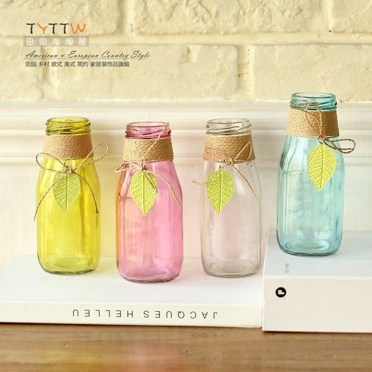 2015 новый дом мебель декоративные цвет стекла гидропоники ваза, Многоцветные небольшой ваза, Таблица декора ванная комната балкон окна