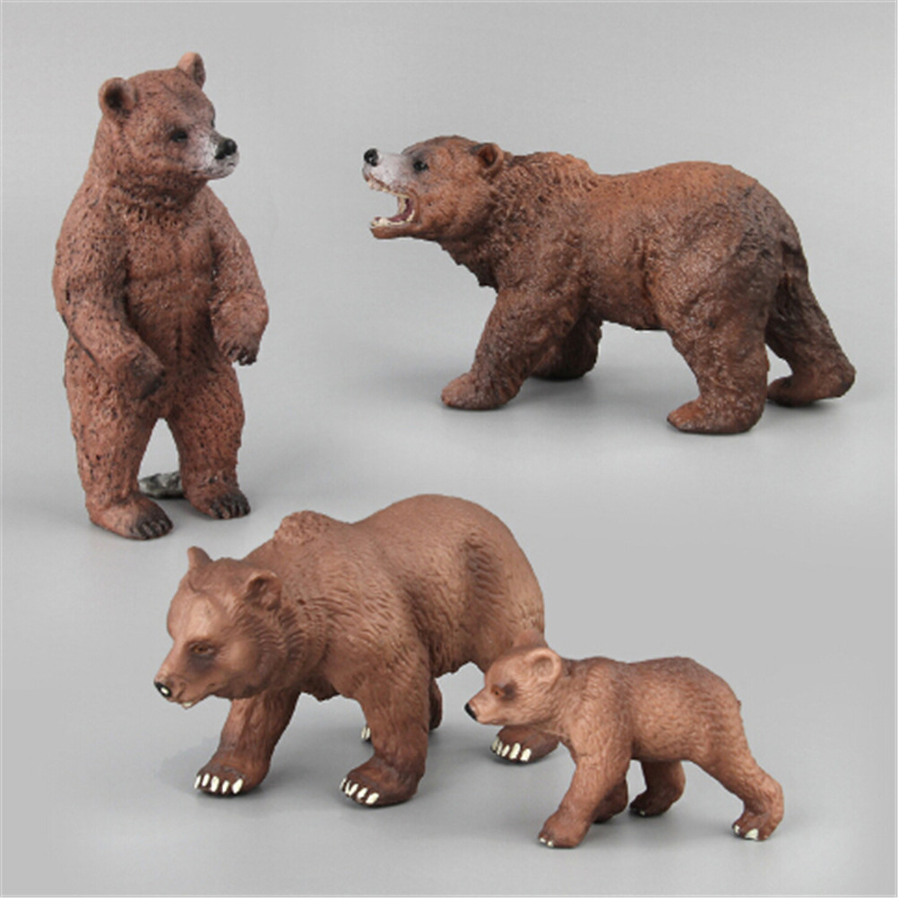 PVC Animals World Alaska Grizzly Brown Polar Bear Bears Static Model Plastic Action Figures Educational Toys Gift for Kids