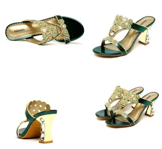 Sexy Summer Shoes New Ladies Casual Dress Shoes Sexy Crystal Rhinestone Design Women Sandal Hot Ladies Flip Flop Slippers B265
