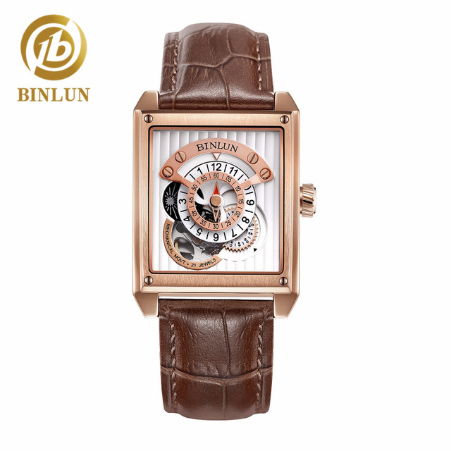 BINLUN Men Rectangular Mechanical Watch Luxury Rose Gold Automatic Watch Genuine Leather Band Men's Watch Water Waterproof Watch