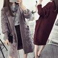 Nuevo Diseño de Otoño e Invierno Las Mujeres Más El Tamaño Suéteres Cardigans de Punto Larga Floja del Diseño y los Suéteres de Gran Tamaño