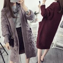 PJ. SDZM Новый Дизайн Осень и Зима Женщин Плюс Размер Свитера Вязаные Кардиганы Долго Дизайн Свободно и Большой Размер свитера