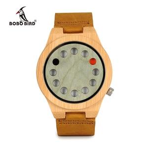 Image 2 - Relogio masculino BOBO VOGEL Mannen Horloge Handgemaakte Groene Houten Horloges Lederen Band Quartz Horloge Accepteren LOGO Drop Shipping