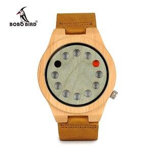 Image 2 - レロジオ masculino ボボ鳥メンズ腕時計手作りグリーン木製革バンドクォーツ腕時計受け入れるロゴドロップシッピング