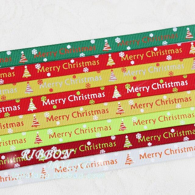 Feliz Navidad carta impreso cintas de raso 10mm 2 metros amarillo