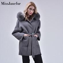 Automne hiver cachemire Trench veste décontracté noir blanc Plaid manteau épaisseur fourrure à capuche poche vestes