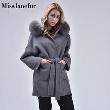 Autumn Winter Cashmere Trench Jacket Women Casual Black White Plaid Coat Thickness Fur hooded Pocket Jackets