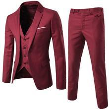 Man Suit Business Formal Leisure Dress Slim Fit Waistcoat Th