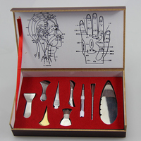 9pcs Set China Traditional Medical Scrapping Plate Healthcare Guasha Board Body Massage TherapyToo Stainless Steel Gua Sha Tool