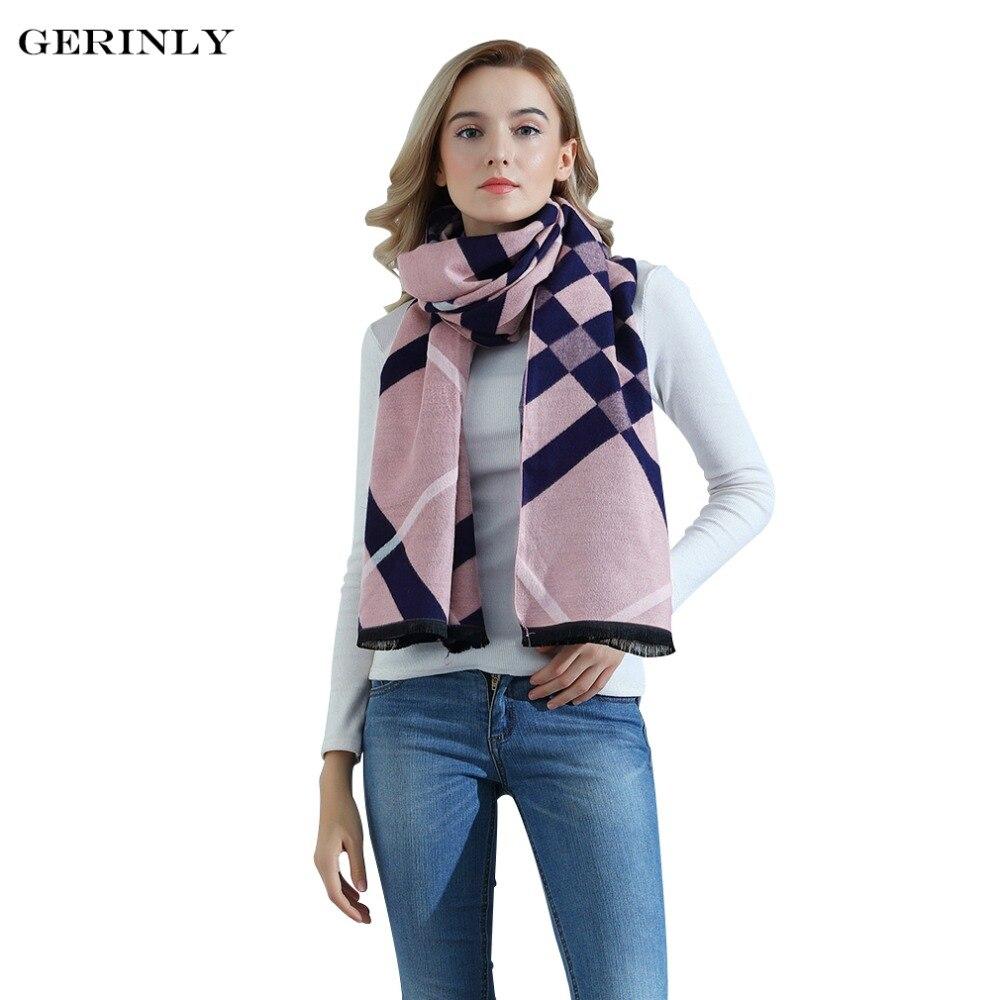 Brand Cashmere   Scarf   Women High Quality Plaid Shawls Fashion Grid   Scarf   Female Warm Winter   Scarves     Wraps   Thicken Pashmina