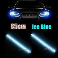 2x Universal 85cm Crystal Blue Daytime Running Lights Flexible Tube Style LED Strips DRL For Car