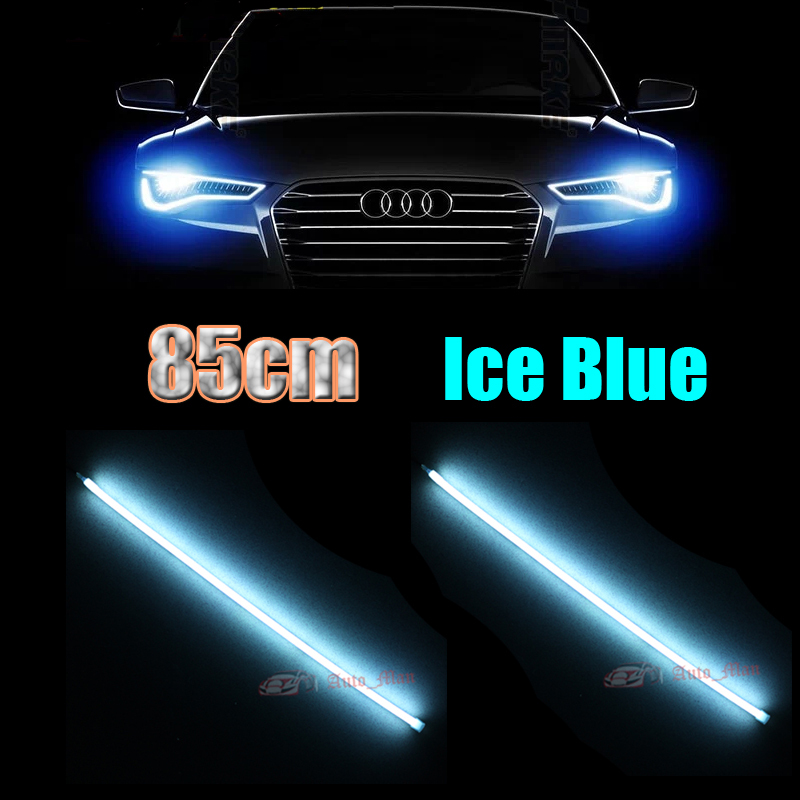 2x Universal 85cm Crystal Blue Daytime Running Lights Flexible Tube Style LED Strips DRL for Car Motorcycle Headlight Angel Eyes led headlight lights angel eyes