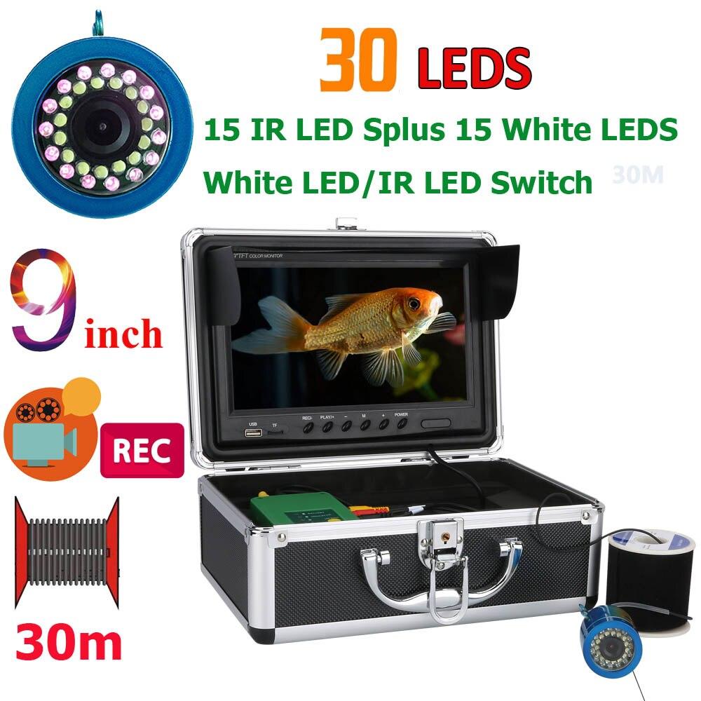 GAMWATER Doppia Lampada 30 LEDs 9 pollice DVR Registratore 1000TVL Fish Finder Macchina Fotografica Subacquea di Pesca 15 pz Led Bianchi + 15 pz IR LED