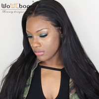 WoWEbony 4*4 Silk Top Lace Front Wigs 8A Grade Indian Remy Hair Yaki Straight Silk Base Lace Front Wigs For Black Women