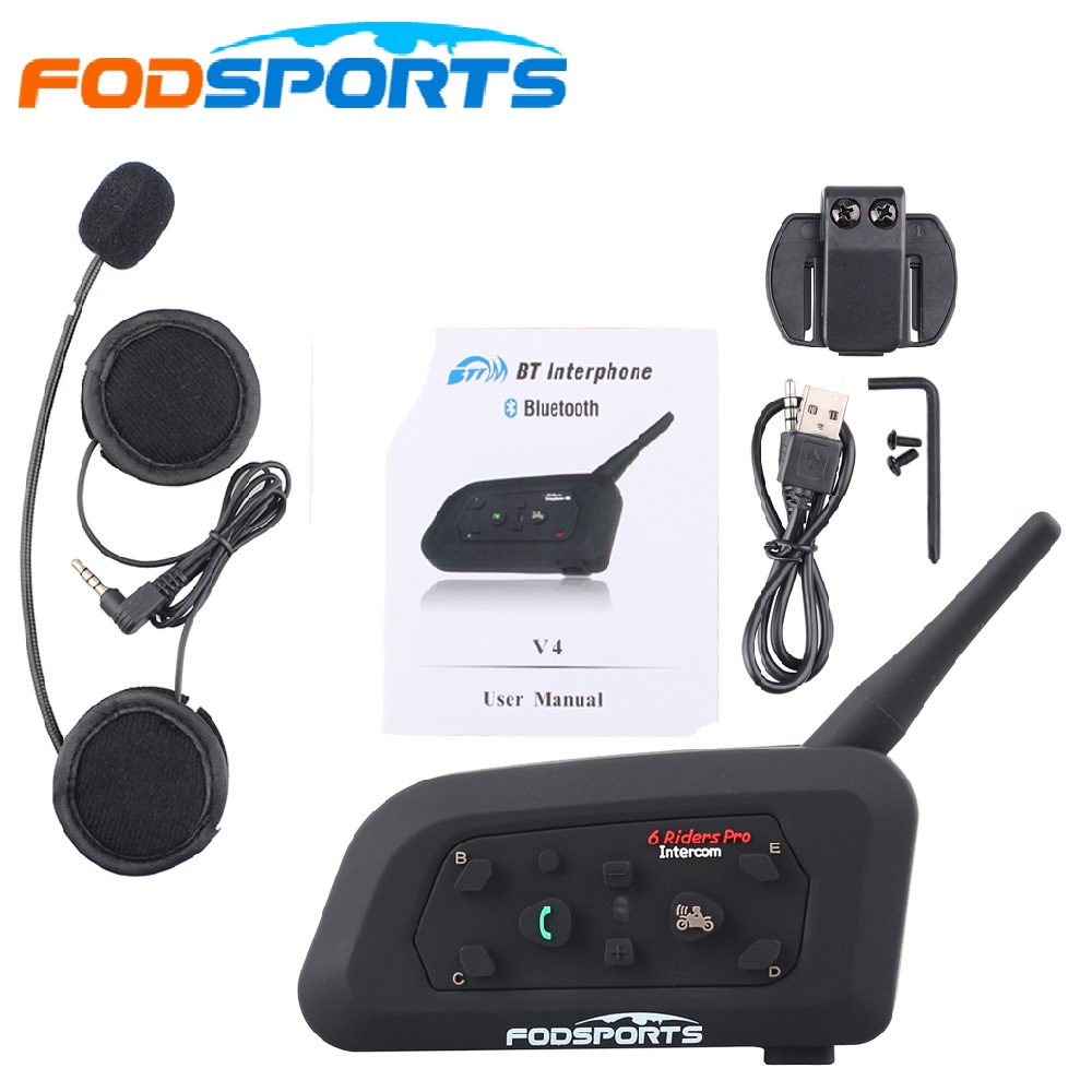 Fodsports V6 Pro Intercom Motorcycle Helmet Headset BT Interphone 1200M Wireless Bluetooth Interphone Intercomunicador Moto цена