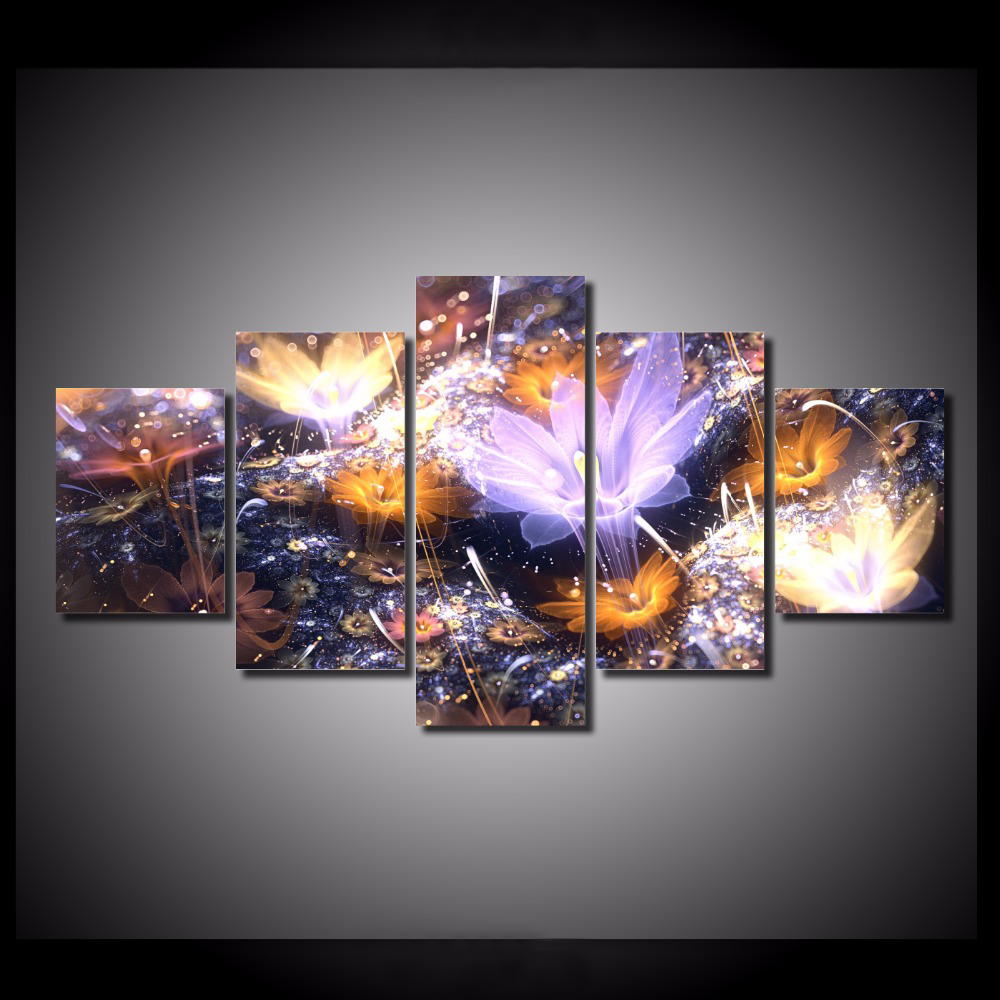 5 Pieces Set Abstract Fractal 3d Flowers Paintings Picture