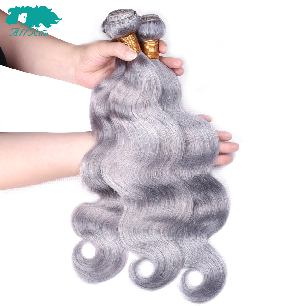 Allrun pure Grey Color Peruvian Human Hair Pre-Colored 8-26inch Body Wave Hair Bundles 3 Bundles Non-Remy Hair Extension