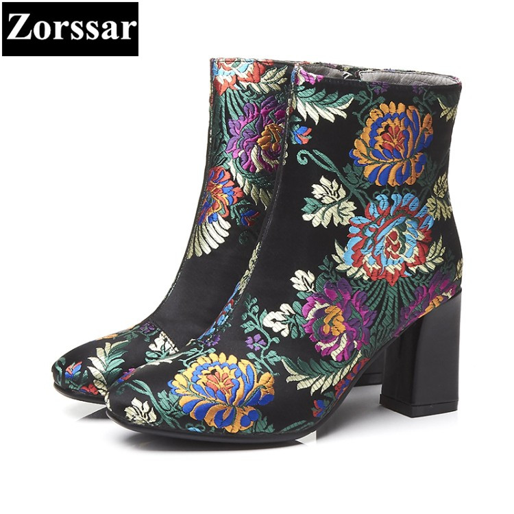 {Zorssar}2018 NEW arrive fashion Embroidered flowers Genuine leather short boots women High heels ankle boots autumn women shoes 2016 new arrive high quality genuine leather high heels ankle boots fashion round toe simple leisure women autumn boots