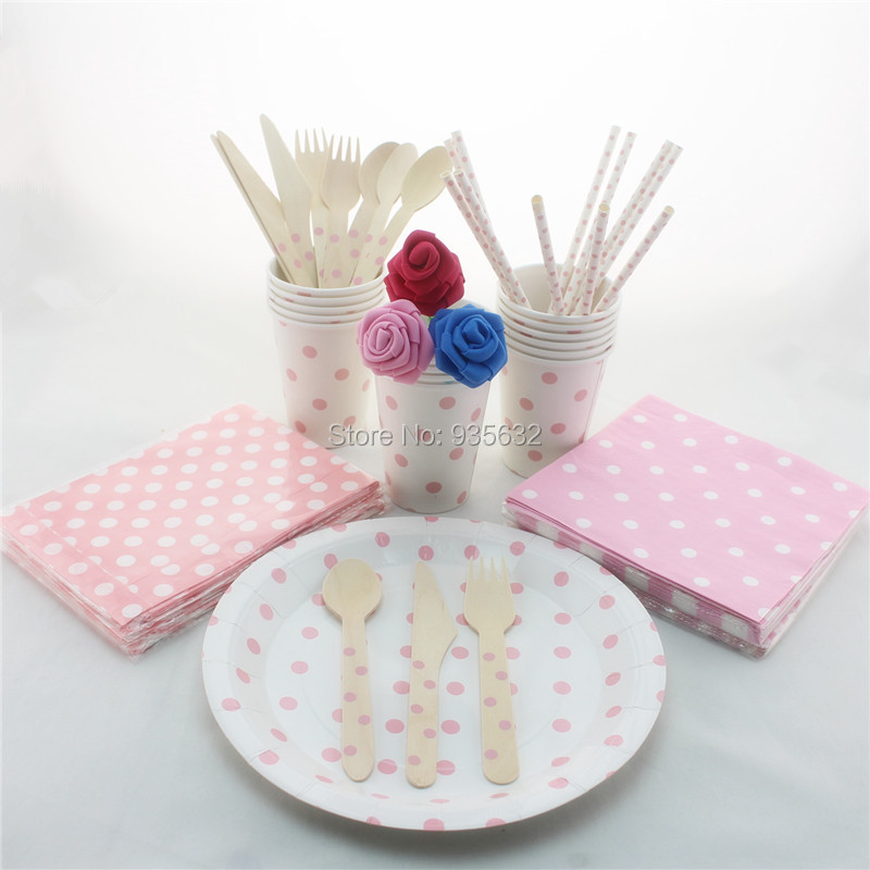Free Shipping 840 Pink S&le Cute Polka Dot Party Tableware Set Paper Plate\u0026Napkin\u0026Straw\u0026Cup\u0026Wooden Cutlery\u0026Bags Party Supplies-in Event \u0026 Party from Home ... & Free Shipping 840 Pink Sample Cute Polka Dot Party Tableware Set ...