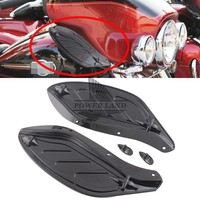 Black Plastic Adjustable Side Windshield Wind Creens Deflectors Fairing For Harley Touring Tri Electra Street Glide