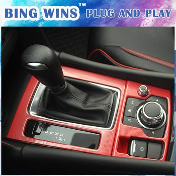 Car-styling ABS Gear Shift Box Panel Cover Trim For Mazda 3 Axela 2017 AT Storage Box Gear Media Control Panel Covers Trim
