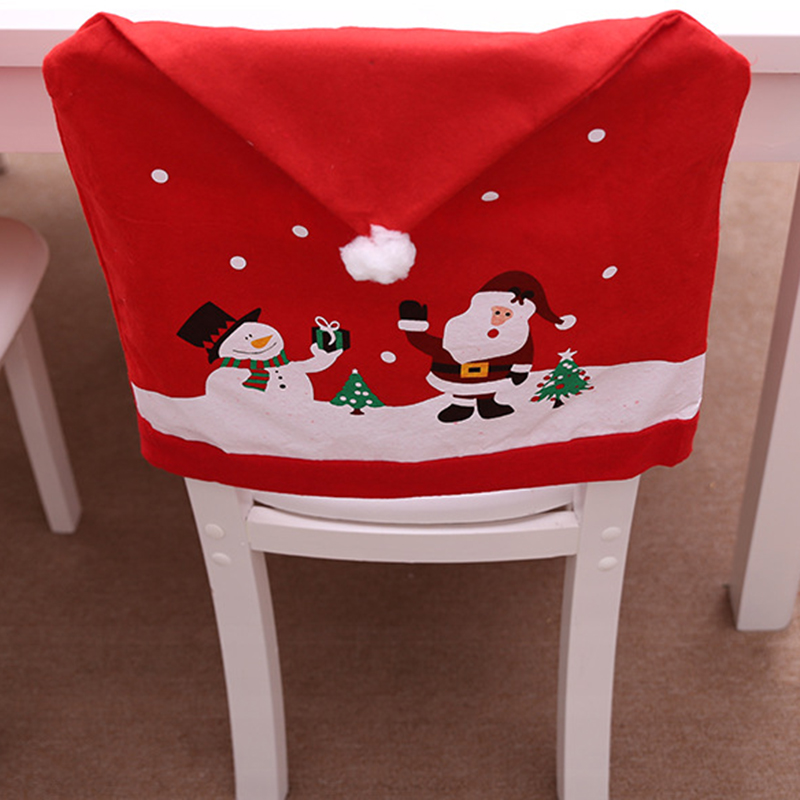 Santa Claus Cartoon Christmas Chair Cover Hotel Restaurant Holiday Supplies Chair Cover Home Decor 1pc Xmas Party Decoration