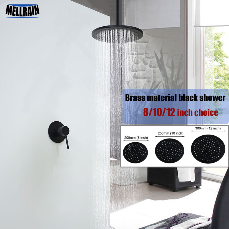 Ceiling mount brass black bath shower set bathroom suspended ceiling rain shower head single way water mixer faucet wall mounted wall mount single handle bath shower faucet with handshower antique brass bathroom shower mixer tap