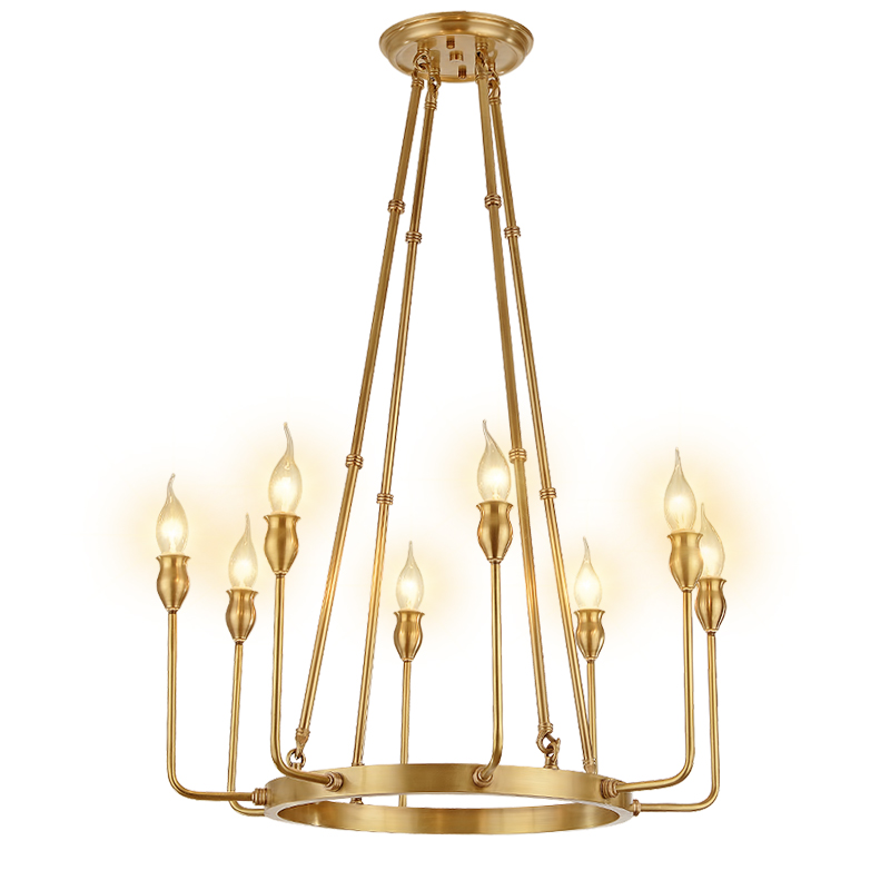 Large gold pure copper brass chandelier vintage ring hanging light fixture antique bronze lights for restaurant hotel kitchen square corners hanging antique copper 2 candelabra sockets clear glass