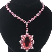 Большой Тяжелый 39 7 г 30x20 мм Розовый Турмалин Подарок Для Женщин Серебряное Ожерелье 18-18.5