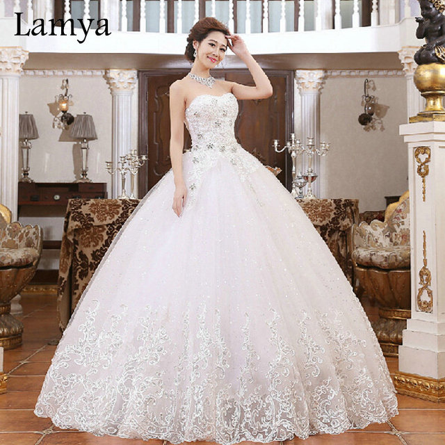 Newest Lace With Beading Ball Gown Wedding Dress 2016 Princess ...