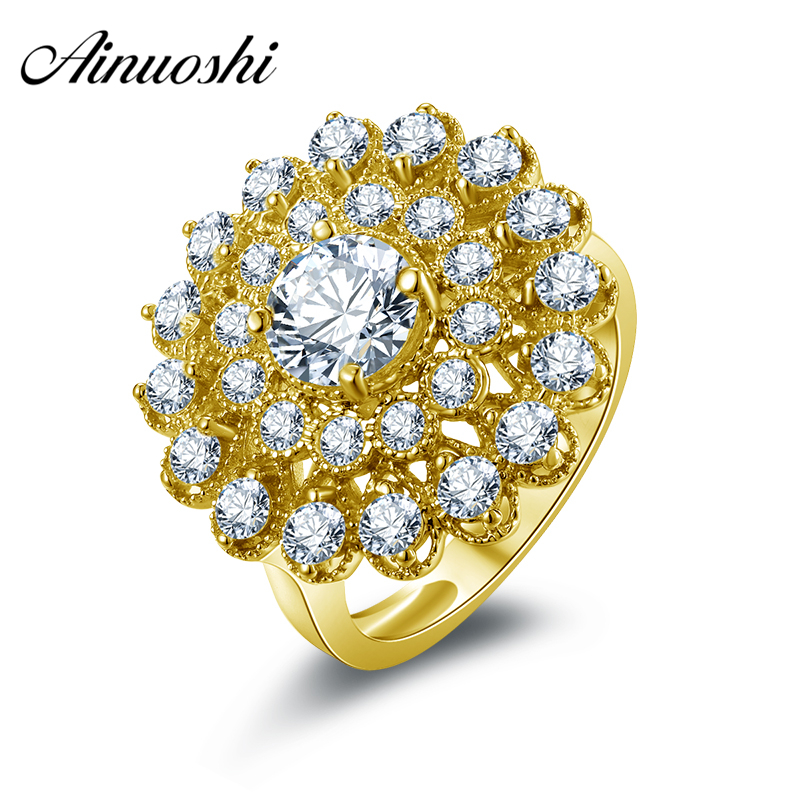 AINUOSHI Real 14K Solid Gold Women Engagement Halo Ring Luxury Flower Shape Design Band Bijoux Double