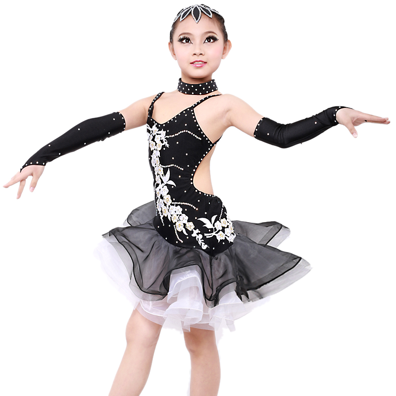 Picture of Black Sequins Embroidery Girls Latin Dance Dress Modern Dance Costumes For Kids Rumba Salsa Samba Tango Dress Fringe Flamengo