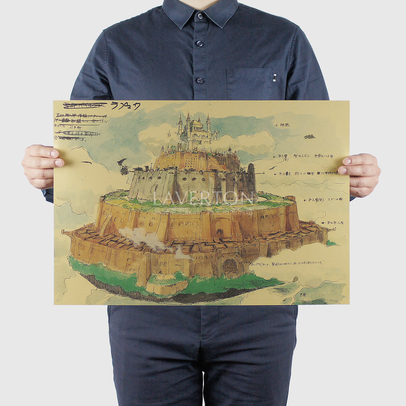 Miyazaki Hayao Cartoon Comic/Castle in the Sky B/kraft paper/Wall stickers/bar poster/Retro Poster/decorative painting 51x35.5