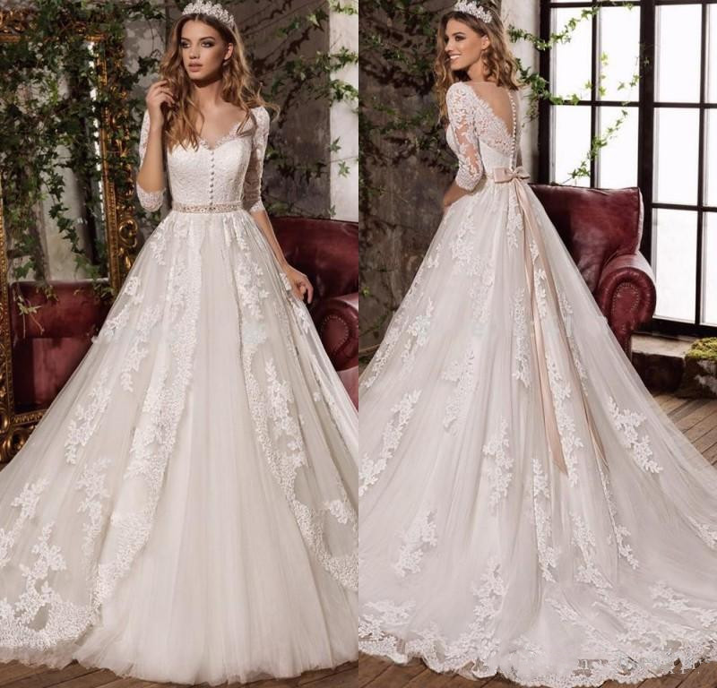 White A Line Wedding Dress See Through Back bridal Dress 2019 Stylish Long Sleeves Lace Applique vestido de