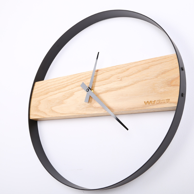 14/16 inch Round solid wood ultra quiet wall clock Living room bedroom wall hanging clocks  clocks wall home decor-in Wall Clocks from Home & Garden    1