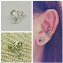 2018 New Hot Fashion Brincos Oorbellen Bijoux Vintage Retro Leaves Ear Clip Crescent Earhook Clip Earrings For Women Jewelry(China)