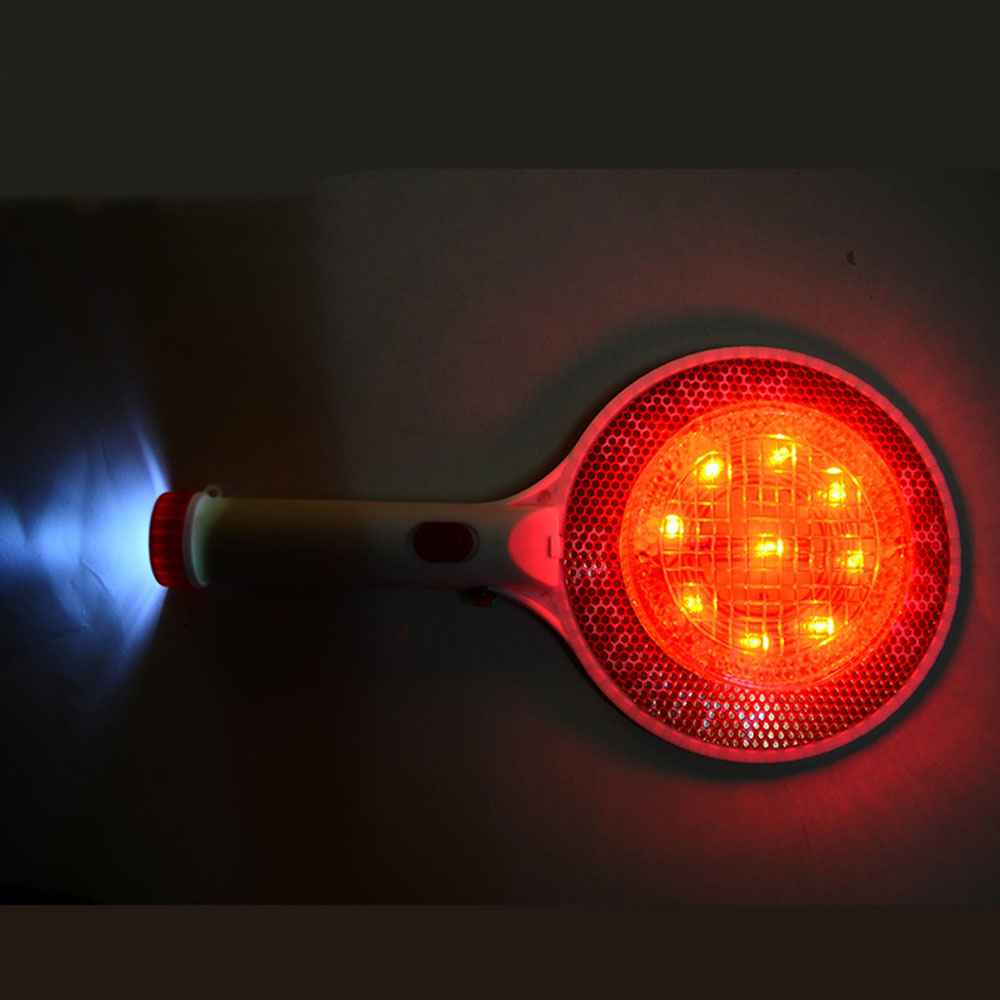 Two-Way Rechargeable Handheld LED Traffic Sign Stop Light Lamp Car Indicator Warning Sign Baton Flashlight
