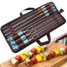 7 stks/set Rvs Barbecue Spies Grill Kebab Naalden Houten Handvat Keuken Naald Stok Outdoor Sticks Gereedschap Gratis Tas
