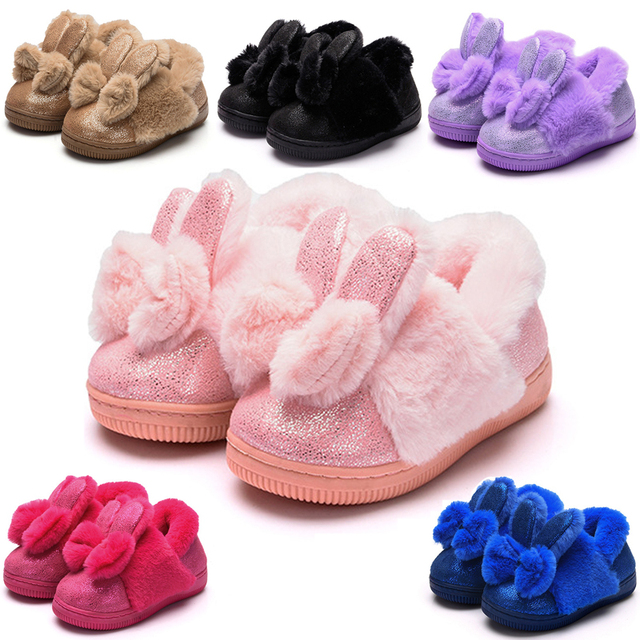 US $13.73 5% OFF|Cute Baby Girls Slippers Winter Warm Kids Shoes Rabbit  Design Home Slippers Boys Girls Toddlers Bedroom Slippers Children Shoes-in  ...