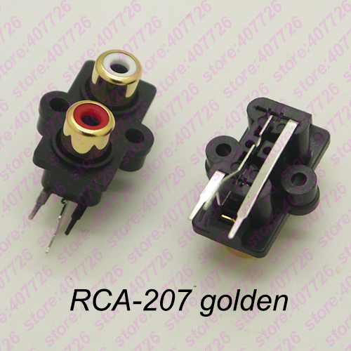 HTB14Pgbc1OSBuNjy0Fdq6zDnVXa2 - (2PCS/PACK) PCB  Mounting Stereo Audio Video Jack RCA Female Connector TWO hole (W+R) RCA-213 Golden