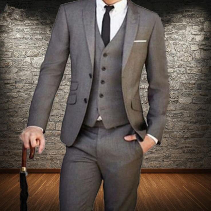 Custom Made Men Suit Tailor Made Suit Light Grey Wedding Suit Slim Fit Gray Slim Fit Groom Tuxedos 3pcs(Jacket+Pants+Vest) jacket pants new arrival custom made mens suits wedding groom slim fit business wedding suit hombre casual suit
